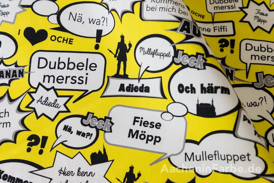 Stoff Öcher Sprüche, Comic, gelb (0,5 m)