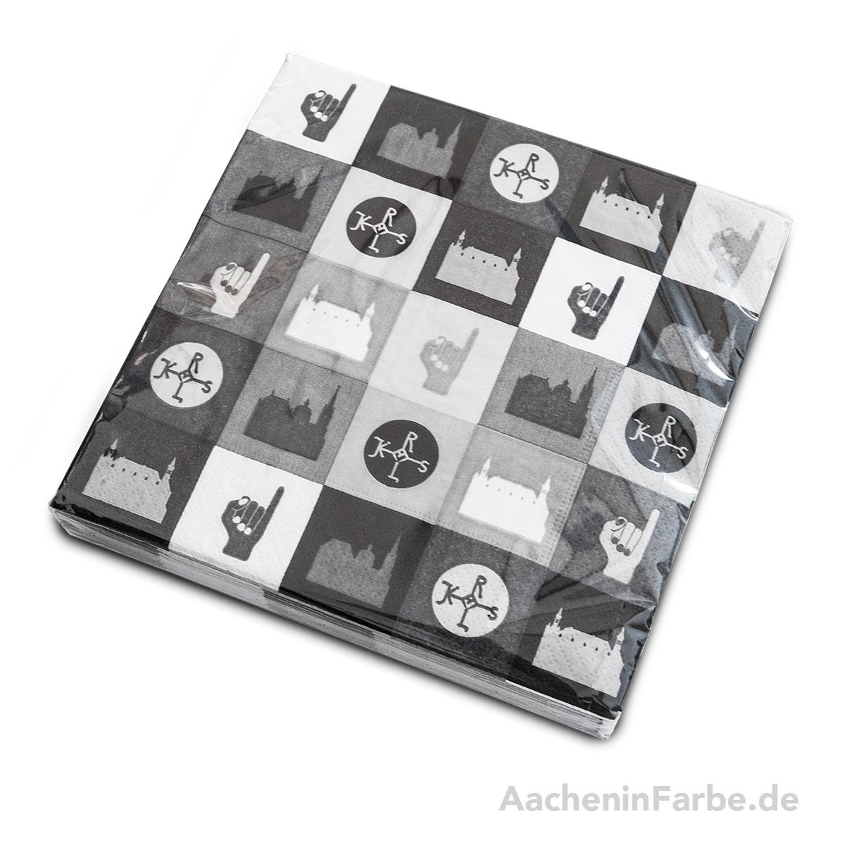 Serviette Aachen Kacheln, schwarz-weiß