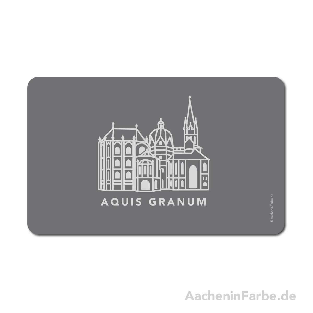 Frühstücksbrettchen Aachen Symbole, Dom, grau