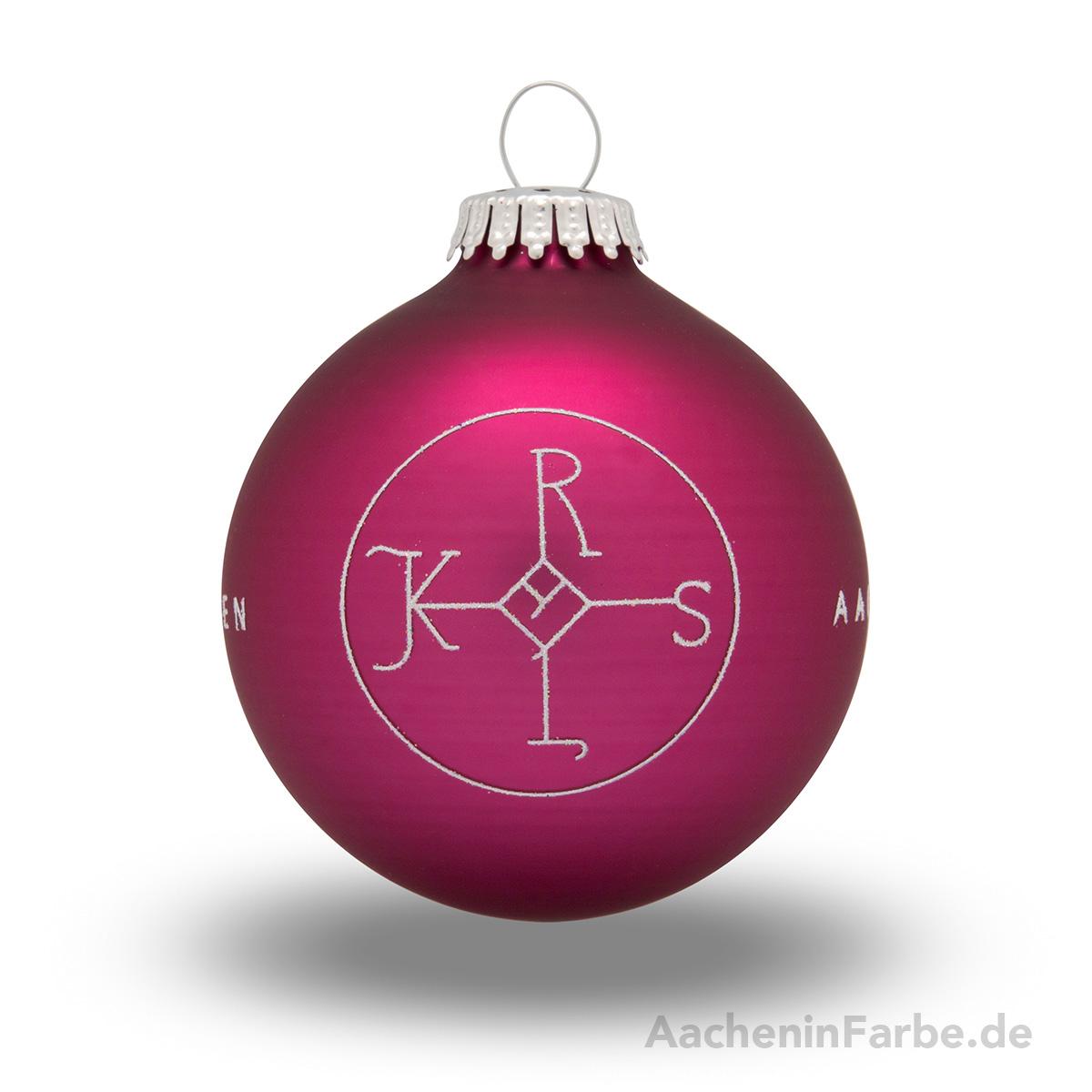 """Christbaumkugel """"Aachen Karlssiegel"""", berry"""