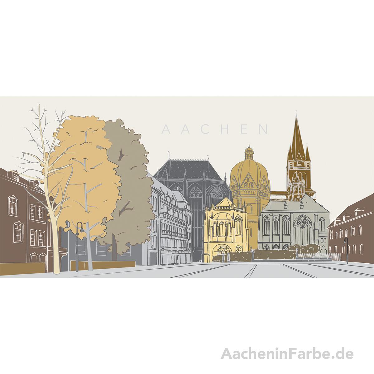 """Grußkarte """"Aachen"""" Aachener Dom, pastell"""