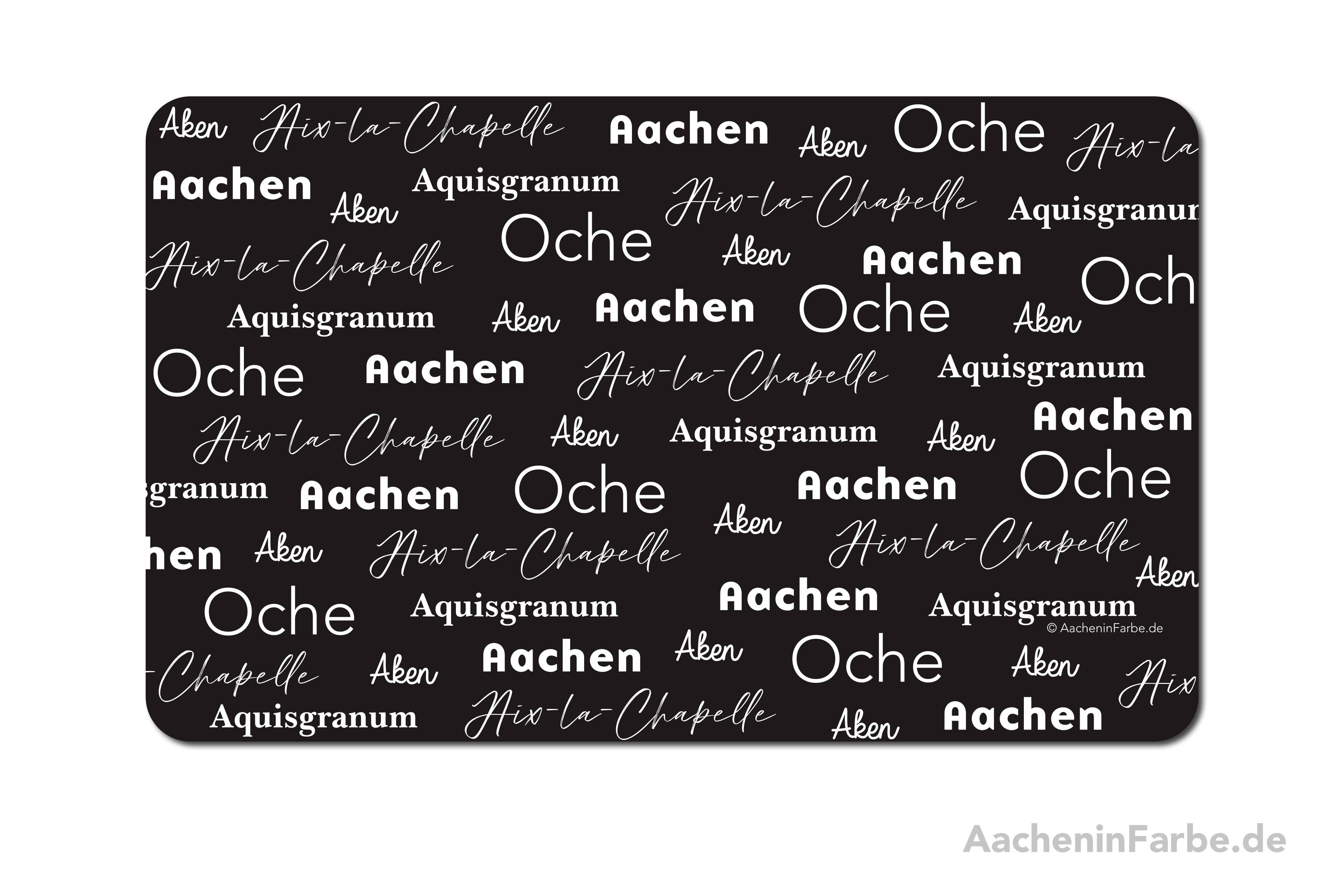 """Frühstücksbrettchen """"Aachen International"""", schwarz-weiß"""