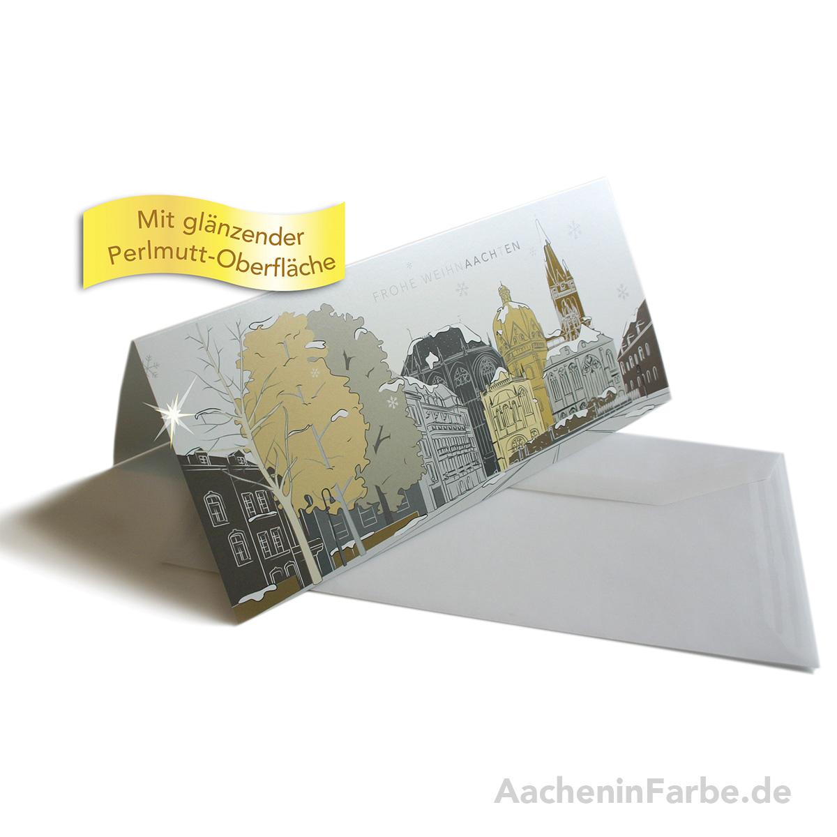 """Grußkarte """"Frohe WeihnAACHtEN"""", Aachener Dom, pastell (Perlmutt)"""