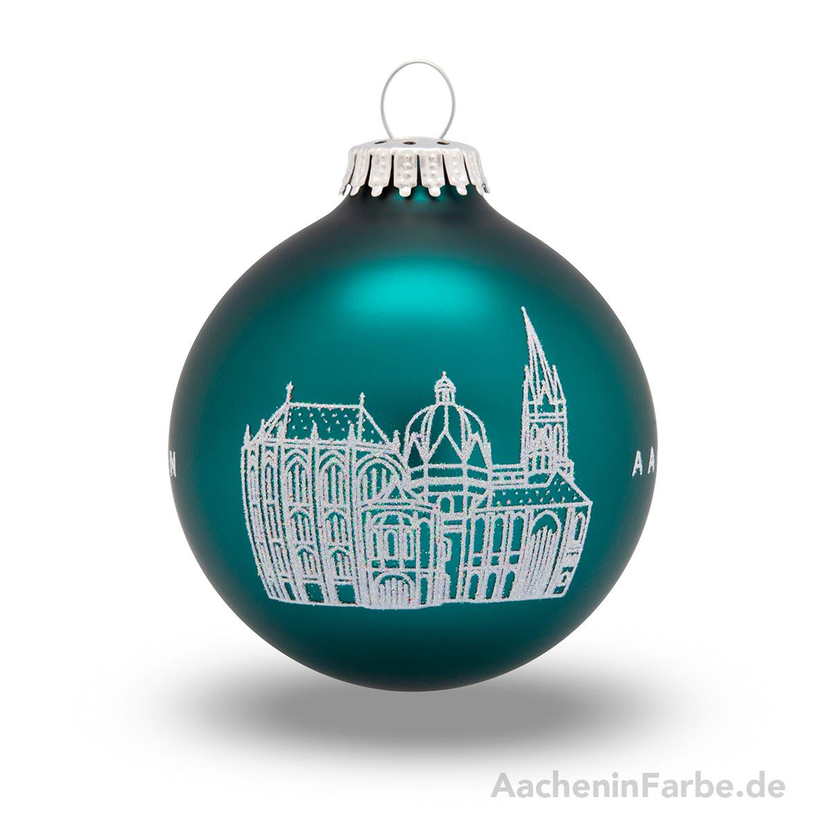 "Christbaumkugel ""Aachener Dom"", petrol"