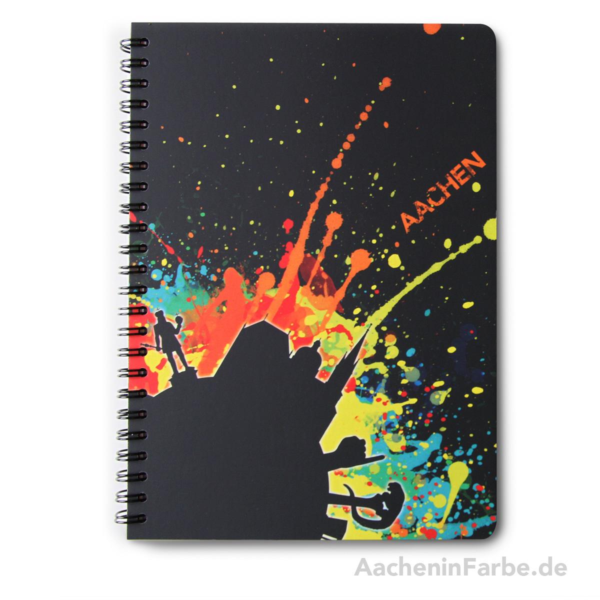 """Ringbuch """"AC Splash"""", schwarz-bunt (matt/glanz)"""