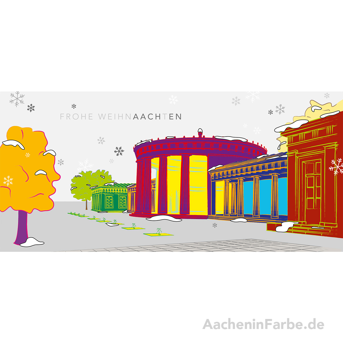 "Grußkarte ""Frohe WeihnAACHtEN"", Elisenbrunnen, bunt (Silber)"