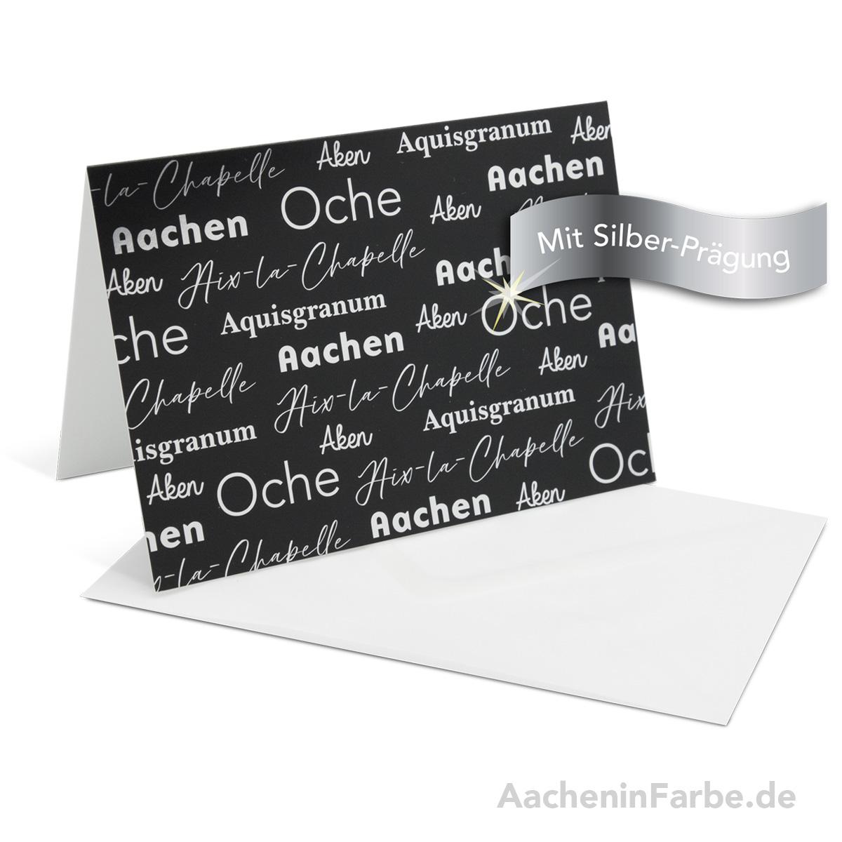 "Grußkarte ""Aachen International"", schwarz (Silberprägung)"