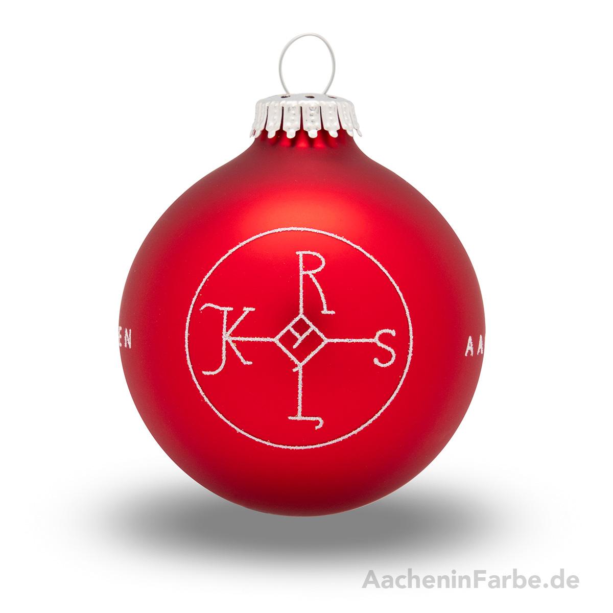 """Christbaumkugel """"Aachen Karlssiegel"""", rot"""