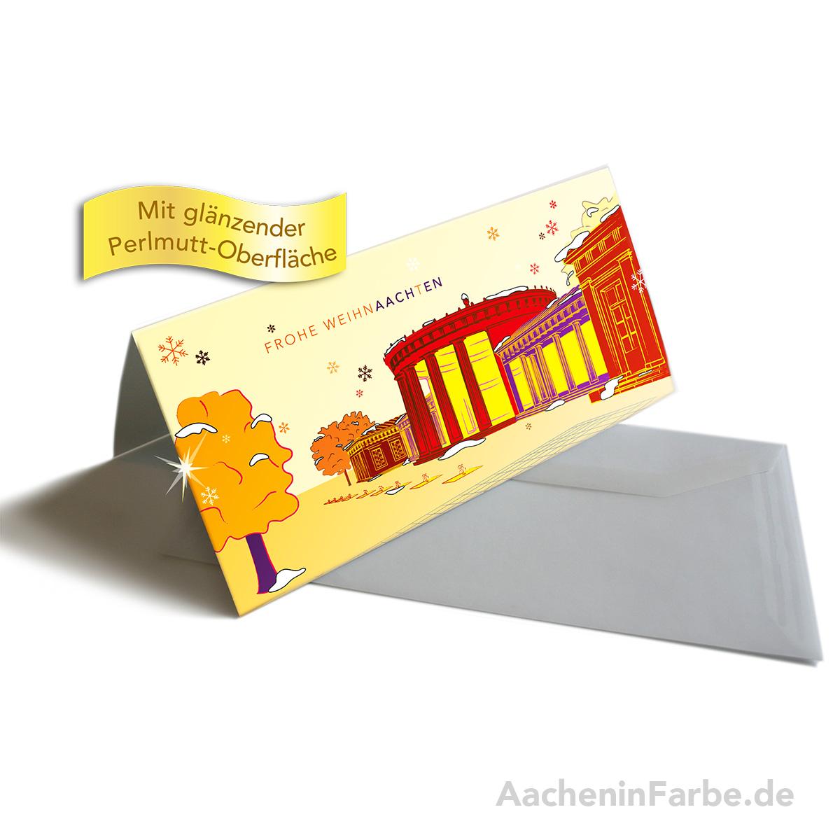 """Grußkarte """"Frohe WeihnAACHtEN"""", Elisenbrunnen, orange (Perlmutt)"""