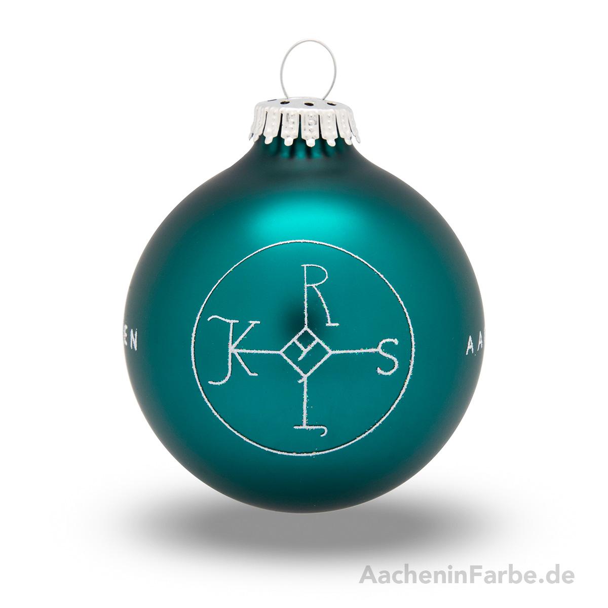 """Christbaumkugel """"Aachen Karlssiegel"""", petrol"""