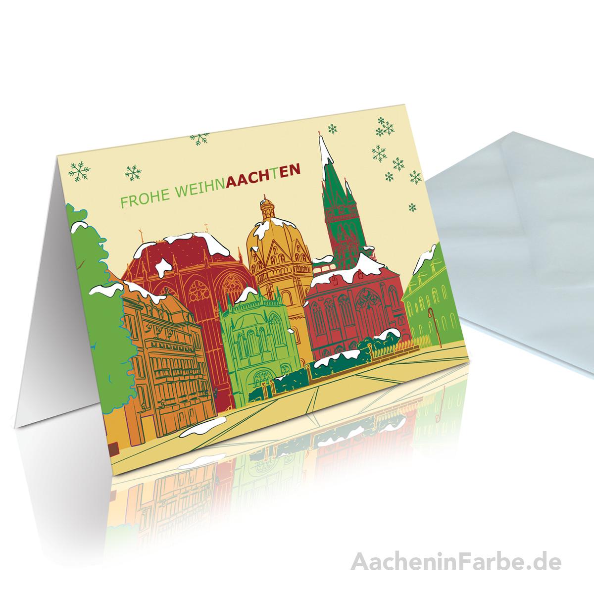 """Grußkarte """"Frohe WeihnAACHtEN"""", Aachener Dom, rot-grün"""