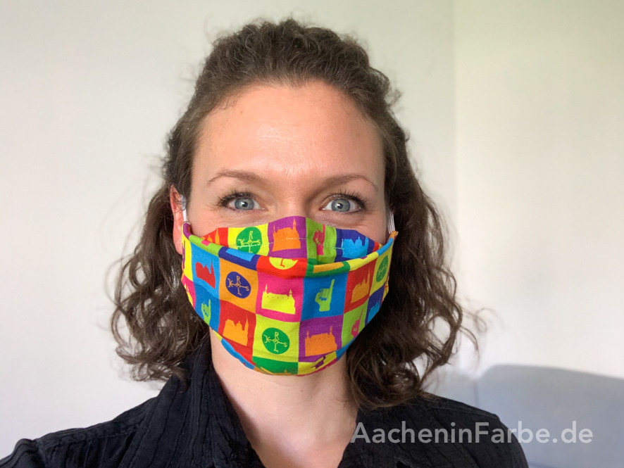 "Maske ""Aachen Kacheln"", bunt"