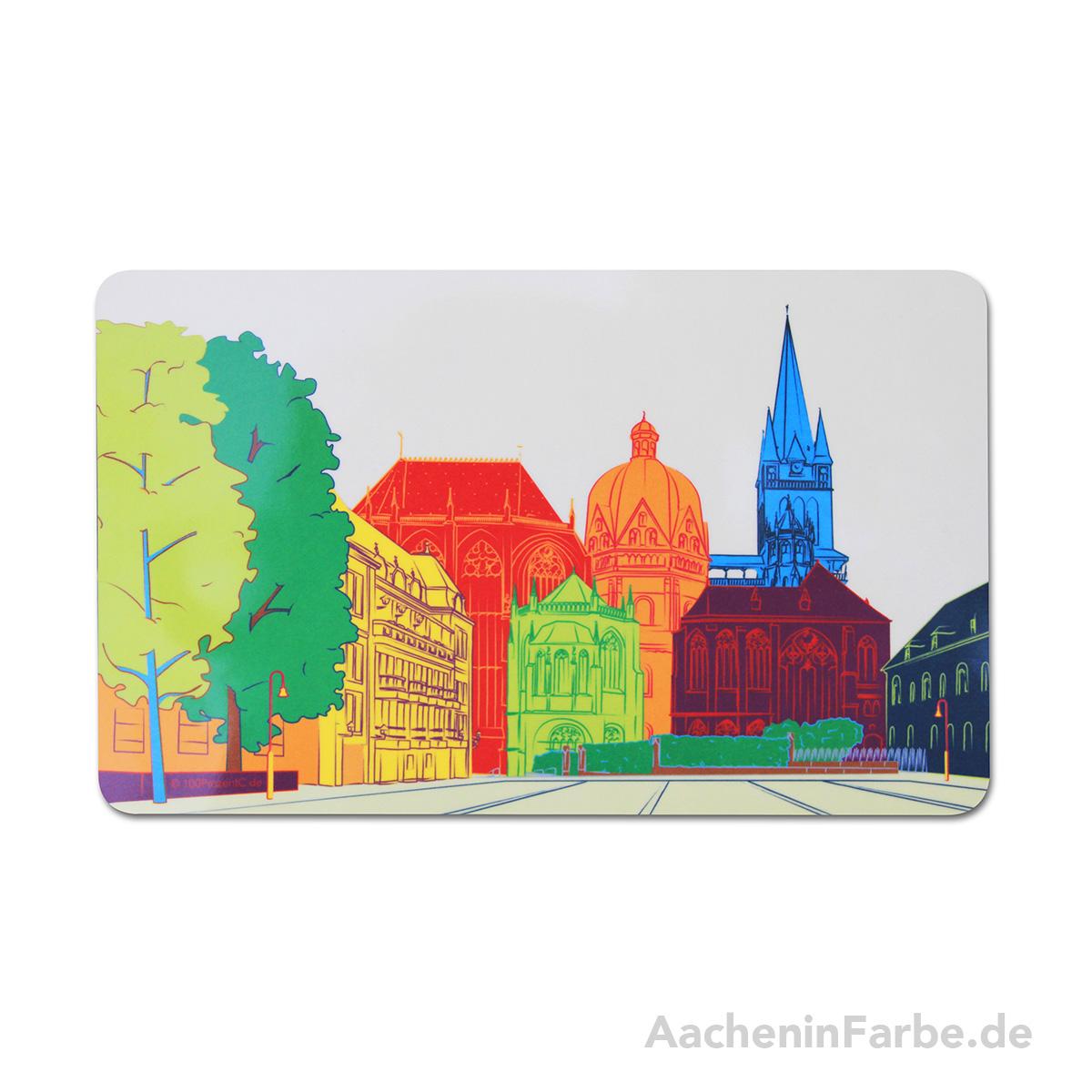 Frühstücksbrettchen Aachener Dom, bunt