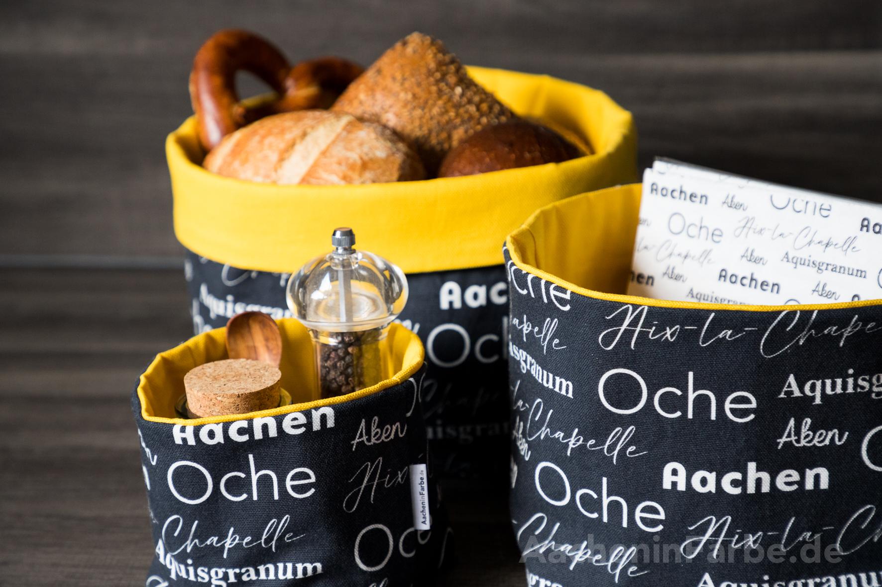 """Stoffkörbe 3er-Set, """"Aachen International"""", schwarz-gelb"""