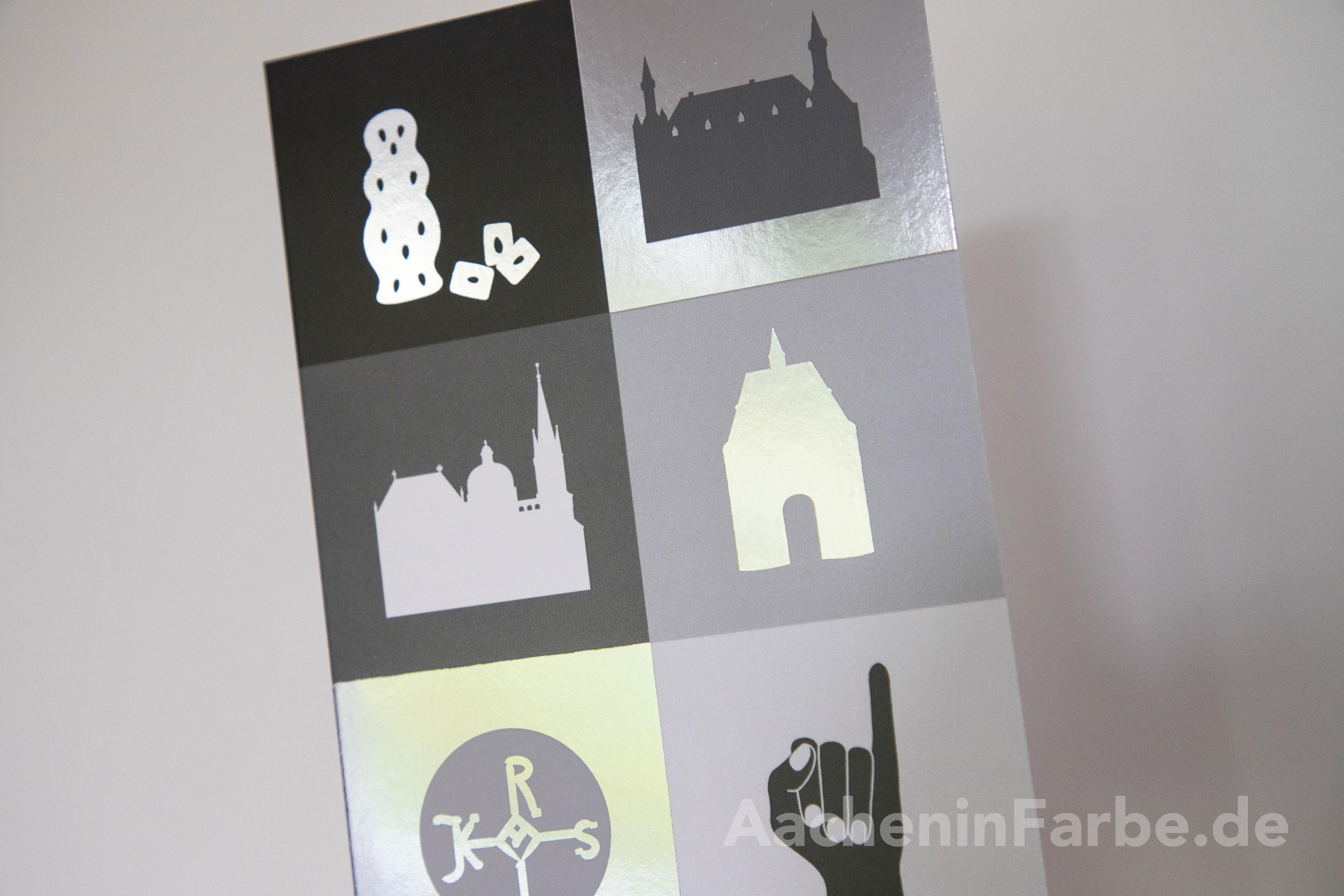 Grußkarte Aachen Kacheln, schwarz-weiß (Silberprägung)