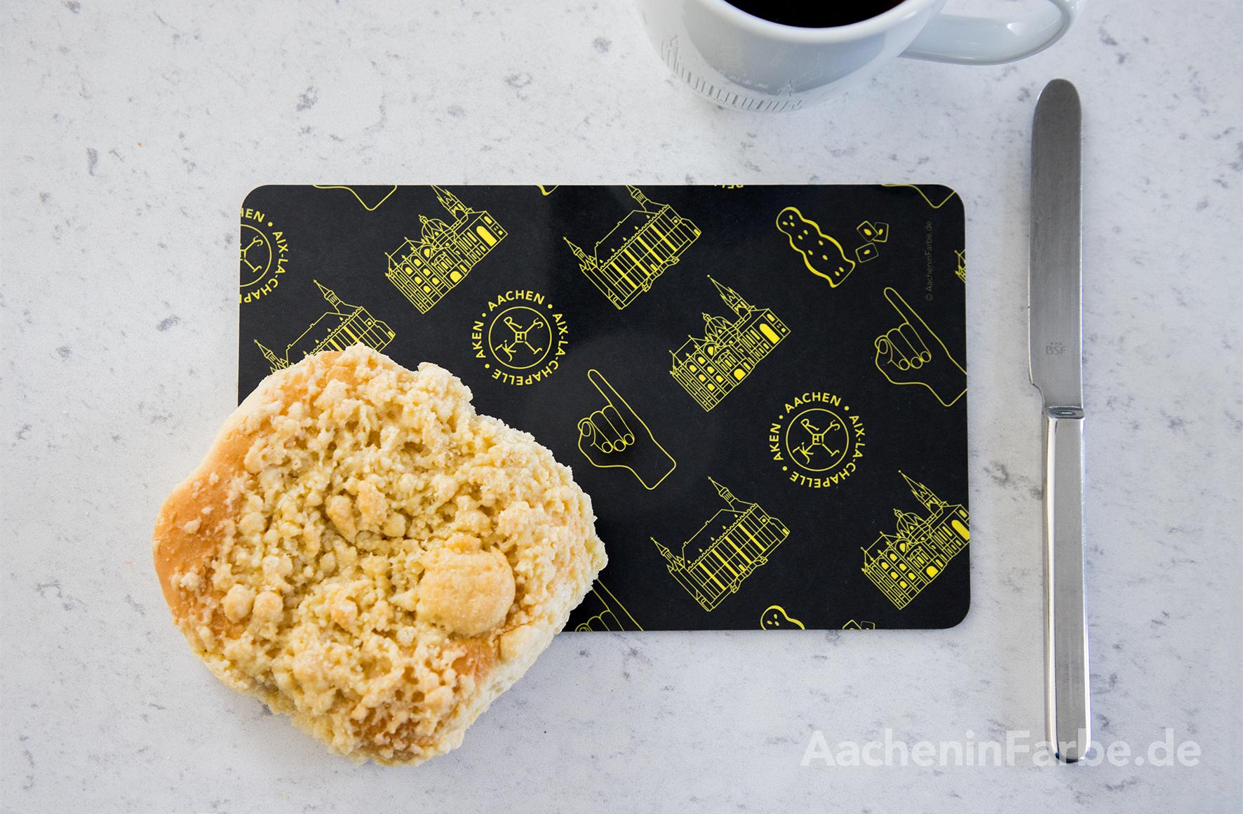 """Frühstücksbrettchen """"Aachen Symbole"""", schwarz-gelb"""