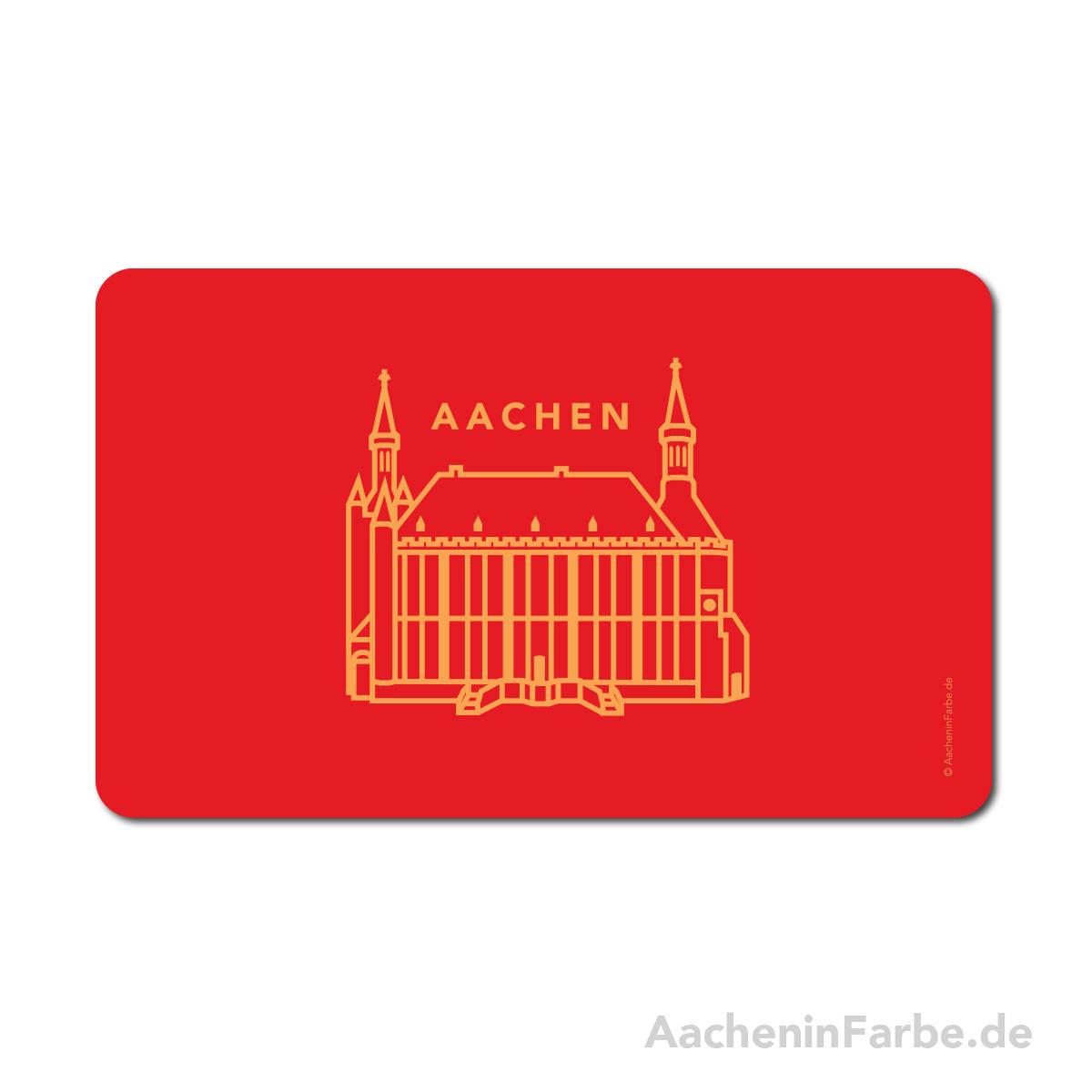 Frühstücksbrettchen Aachen Symbole, Rathaus, rot