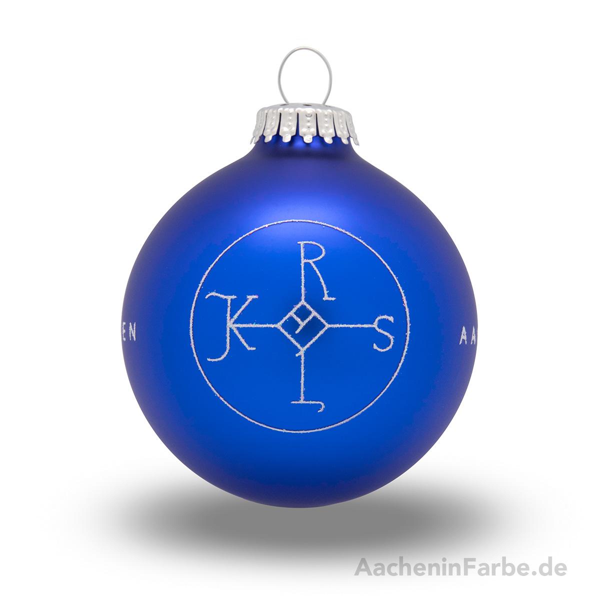 "Christbaumkugel ""Aachen Karlssiegel"", blau"