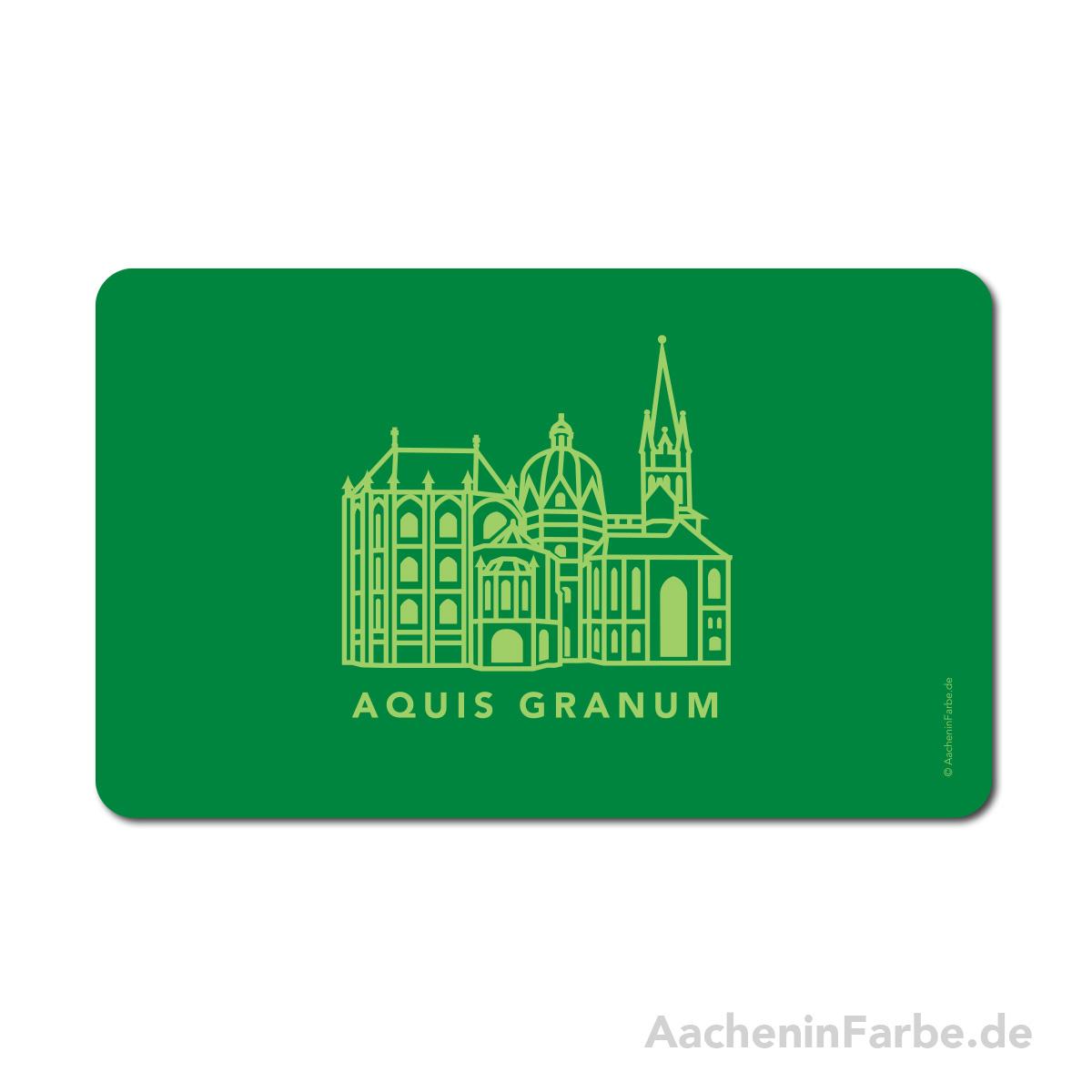 Frühstücksbrettchen Aachen Symbole, Dom, grün