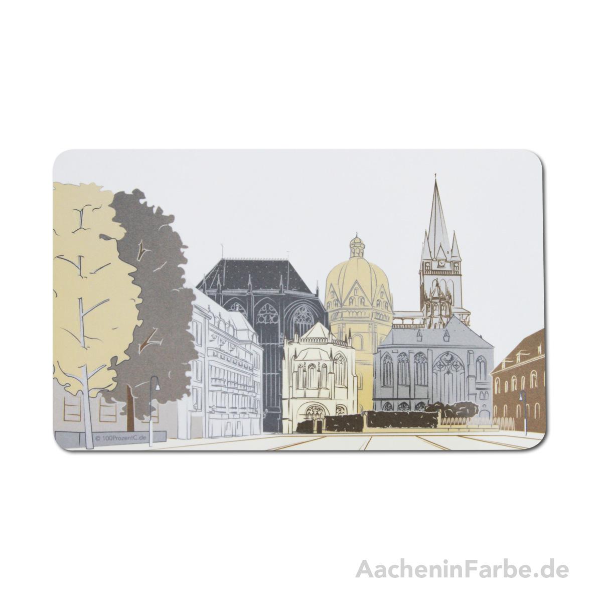 Frühstücksbrettchen Aachener Dom, pastell