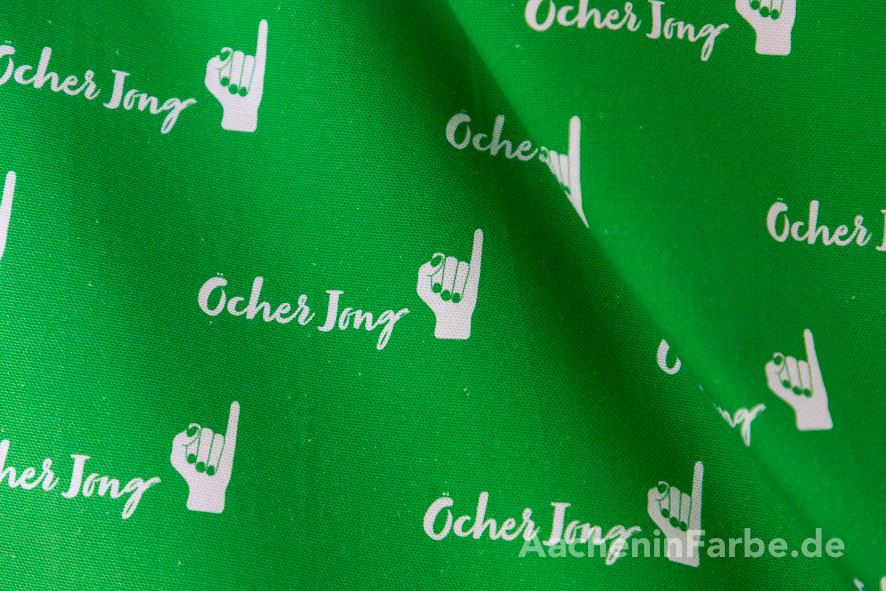 "Stoff ""Öcher Jong"", Klenkes, grün-weiß (0,5 m)"
